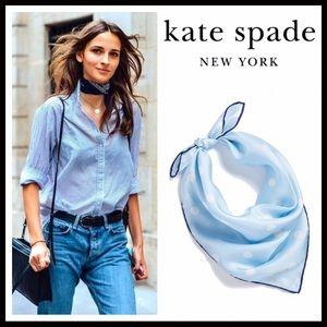 kate spade Accessories - KATE SPADE BLUE SILK WHITE POLKA DOT SCARF A2C